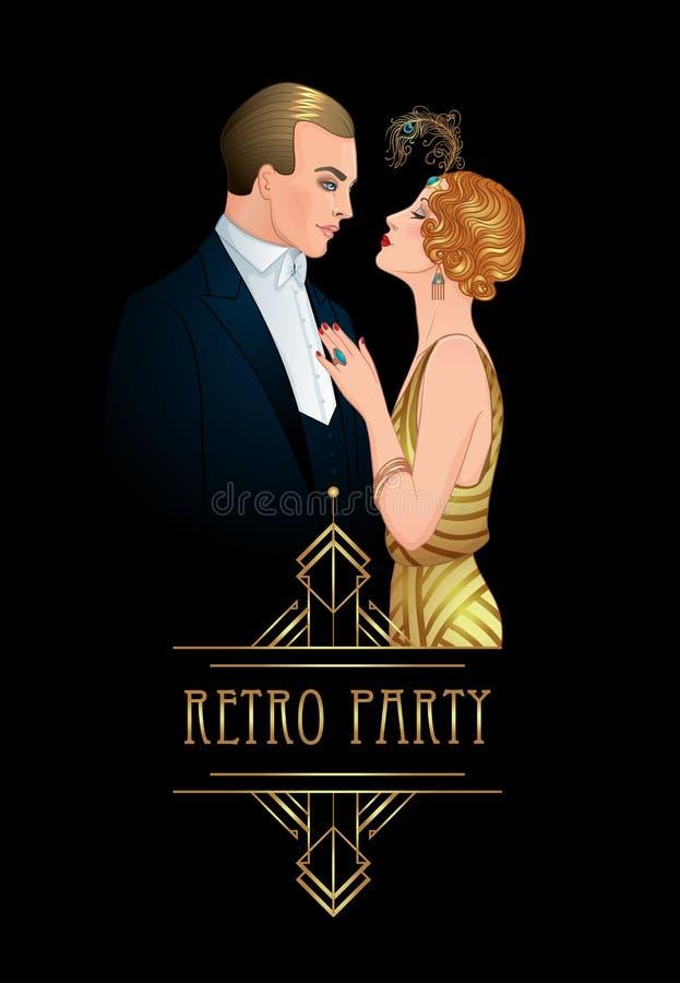 Pares bonitos no estilo do art deco Forma retro: homem a do encanto ilustração royalty free