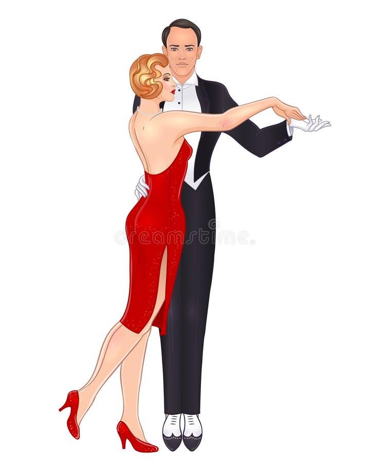 Pares bonitos no tango da dança do estilo do art deco Forma retro: ilustração do vetor