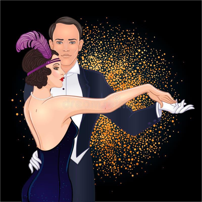 Pares bonitos no tango da dança do estilo do art deco Forma retro: ilustração royalty free