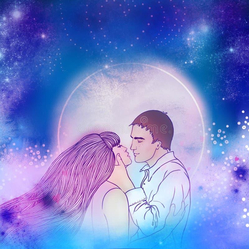Pares bonitos novos que beijam no luar Amor romântico, ilustração stock