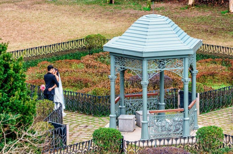 Pares cariñosos asiáticos jovenes en la boda que abraza y que se besa por el pabellón en jardín encima de Victoria Peak en Hong K fotos de archivo libres de regalías
