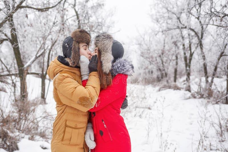 Pares cariñosos de adolescentes Invierno fotos de archivo