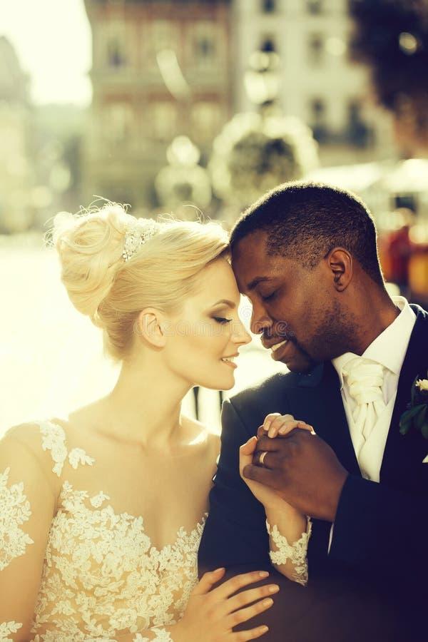Pares cariñosos de la novia linda y del novio afroamericano foto de archivo libre de regalías