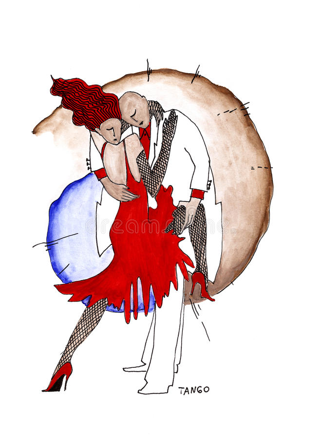 Pares cariñosos en tango moderno del baile del estilo libre illustration