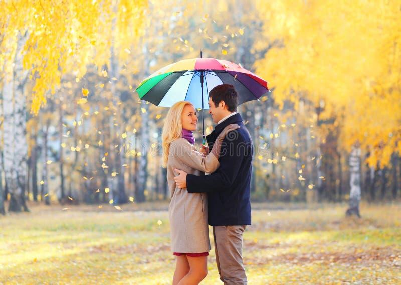 Pares cariñosos felices con el paraguas colorido junto en día soleado caliente sobre las hojas de vuelo amarillas fotos de archivo libres de regalías