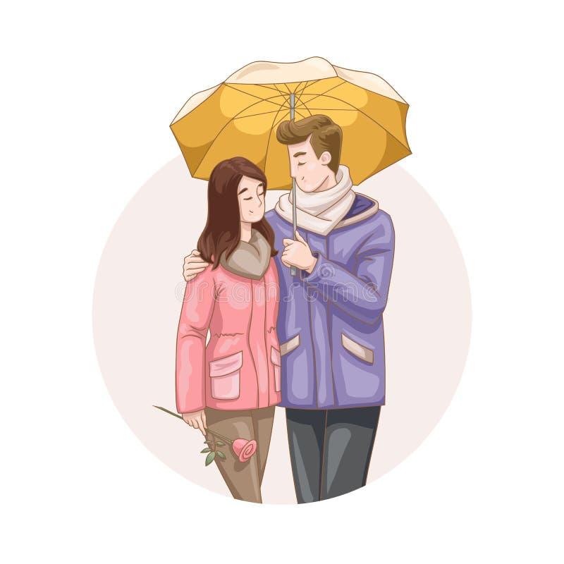 Pares cariñosos hermosos que caminan debajo del paraguas ilustración del vector