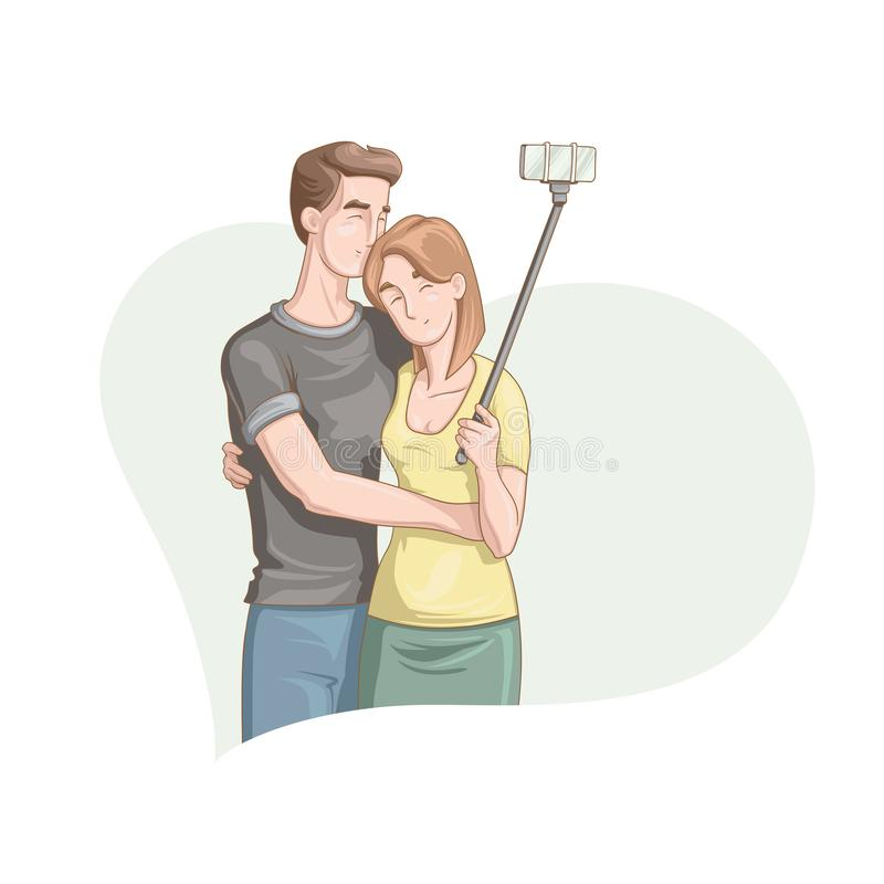 Pares cariñosos hermosos que hacen el selfie ilustración del vector