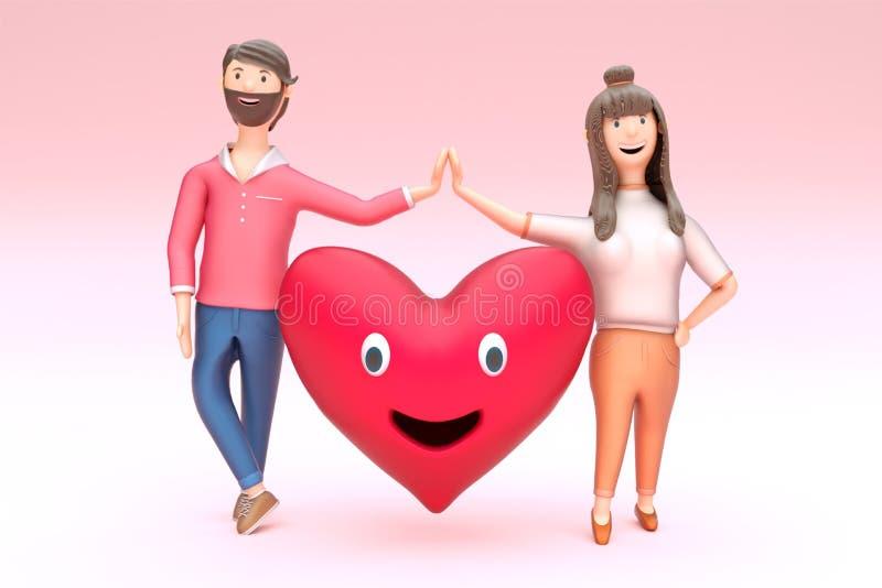Pares cariñosos jovenes con forma sonriente del corazón libre illustration
