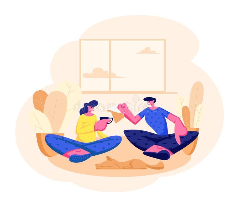 Pares cariñosos jovenes que se sientan en el sofá en té de consumición de la sala de estar Caracteres masculinos, de la hembra y  libre illustration