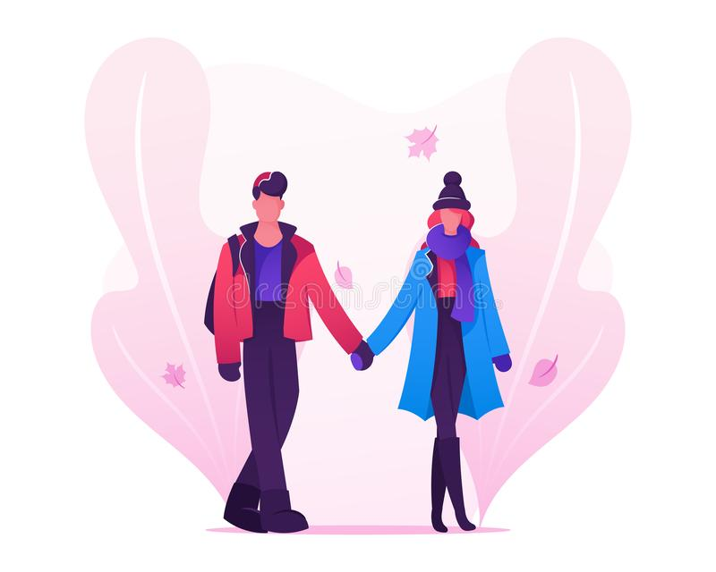 Pares cariñosos que fechan en Autumn Time, hombre joven y la mujer llevando la ropa caliente que lleva a cabo las manos caminando stock de ilustración