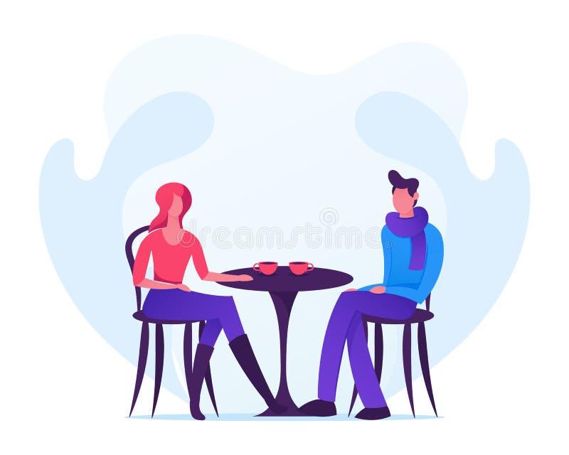 Pares cariñosos que fechan en Autumn Time, hombre joven y la mujer llevando la ropa caliente que se sienta en la tabla en café be libre illustration