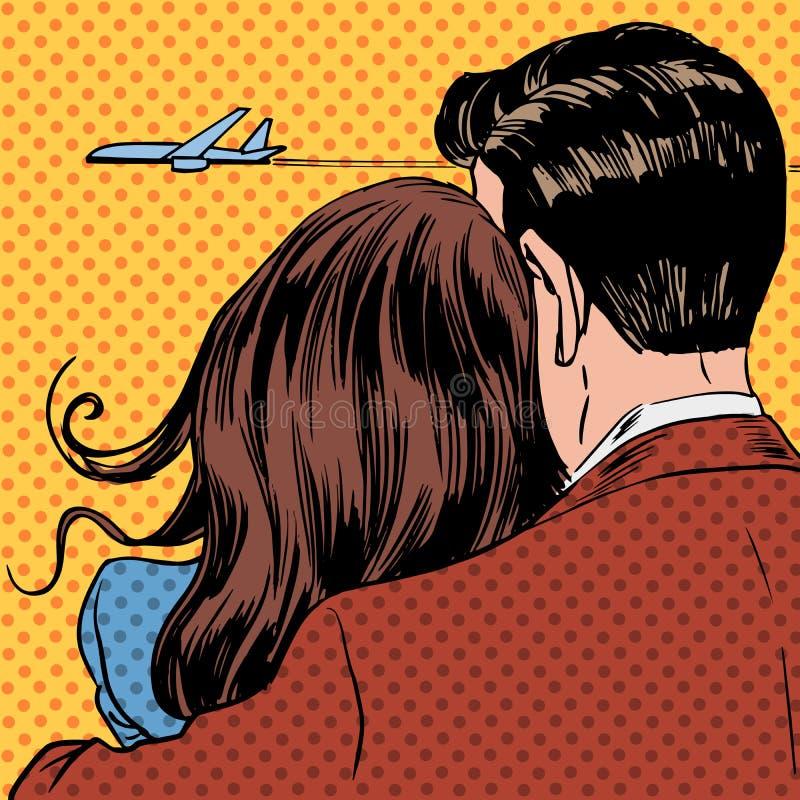 Pares cariñosos que miran un avión que saca en libre illustration