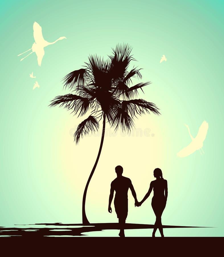 Pares casados que caminan en la isla tropical libre illustration