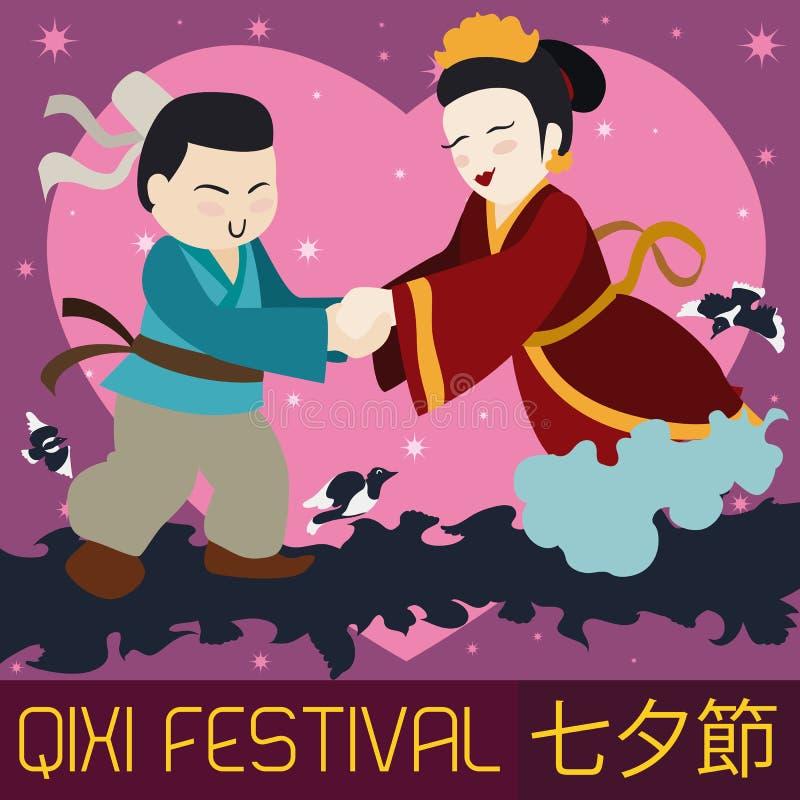 Pares chineses bonitos que comemoram o festival de Qixi, ilustração do vetor ilustração do vetor