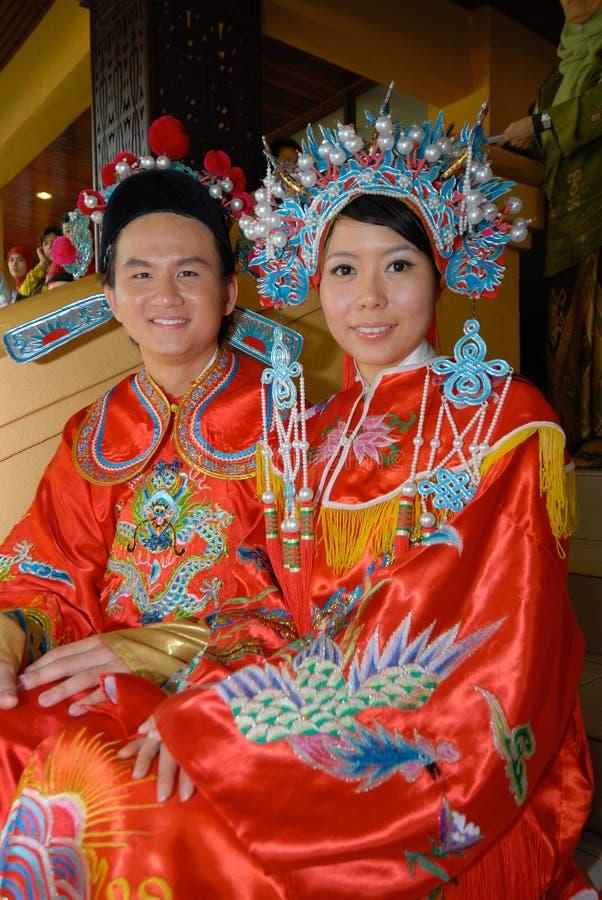 Pares chineses do casamento foto de stock