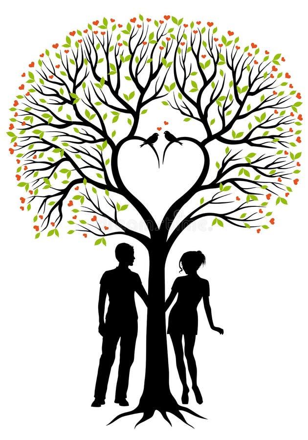 Pares com árvore do coração, fundo do vetor ilustração stock