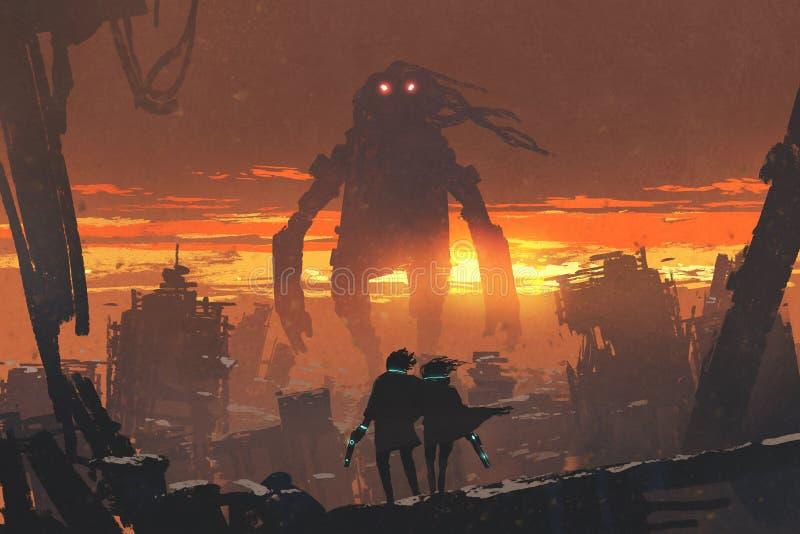Pares com a arma que olha o robô gigante ilustração do vetor