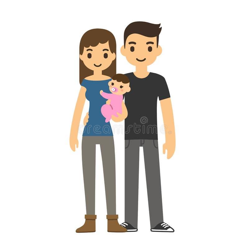 Pares com bebê ilustração do vetor