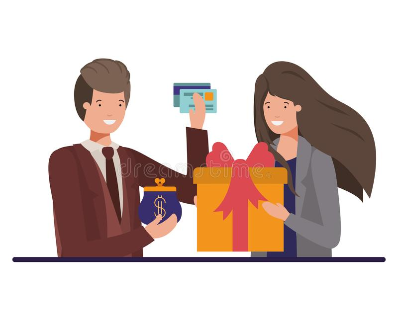 Pares com caixa de presente e bolsa da moeda com cartão de crédito ilustração stock