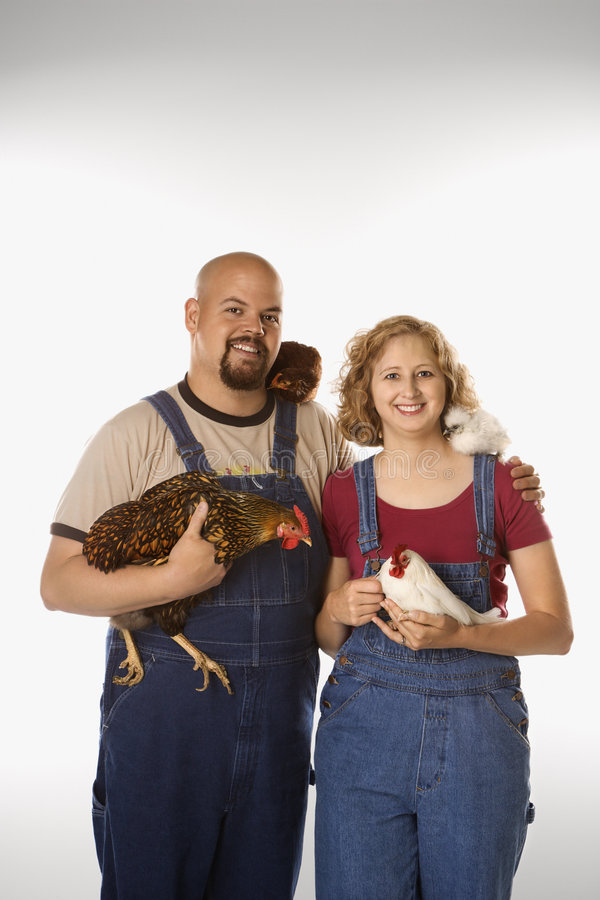 Pares com galinhas. fotografia de stock royalty free