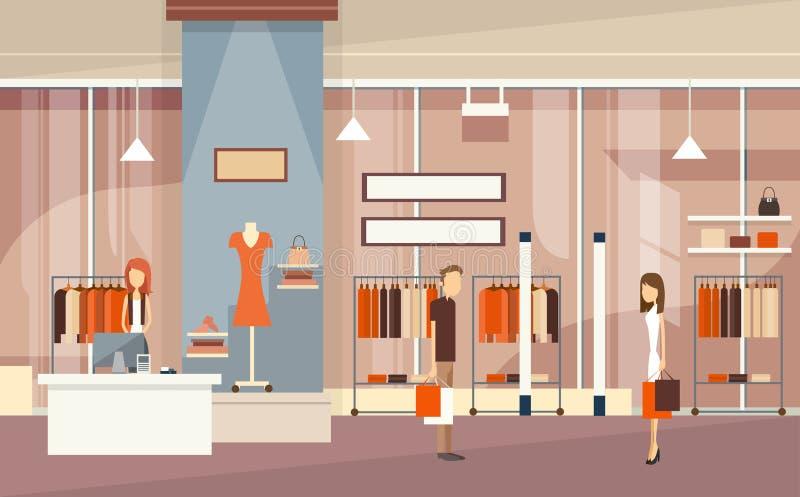 Pares com a loja luxuosa da forma dos sacos de compras ilustração do vetor