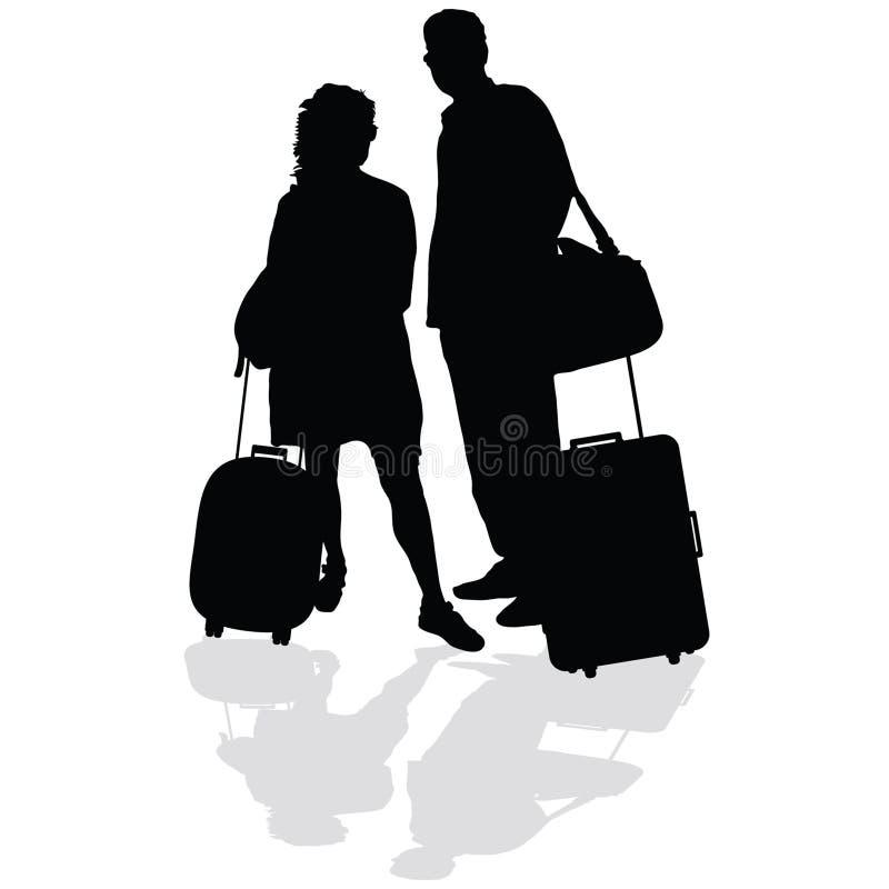 Pares com um vetor da mala de viagem ilustração stock