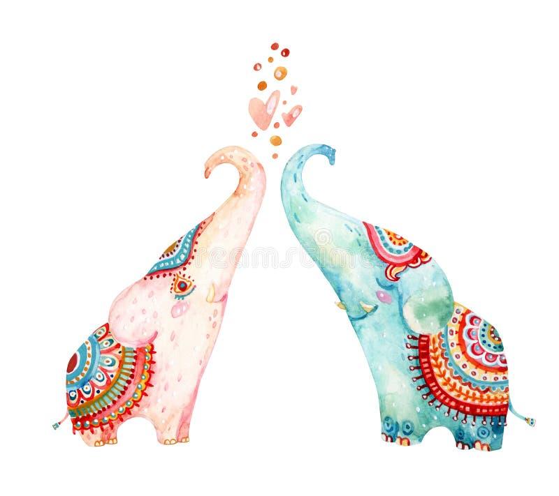 Pares da aquarela de elefantes bonitos isolados no fundo branco ilustração stock