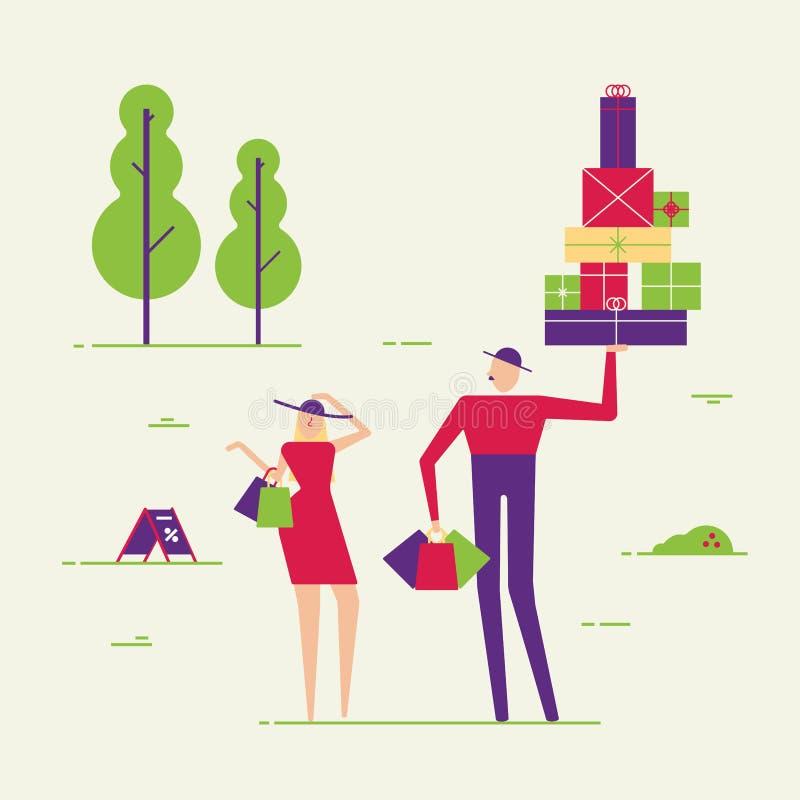 Pares da compra masculina e fêmea dos povos Homem e mulher com caixas e estilo liso da ilustração do vetor dos blocos loja ilustração royalty free