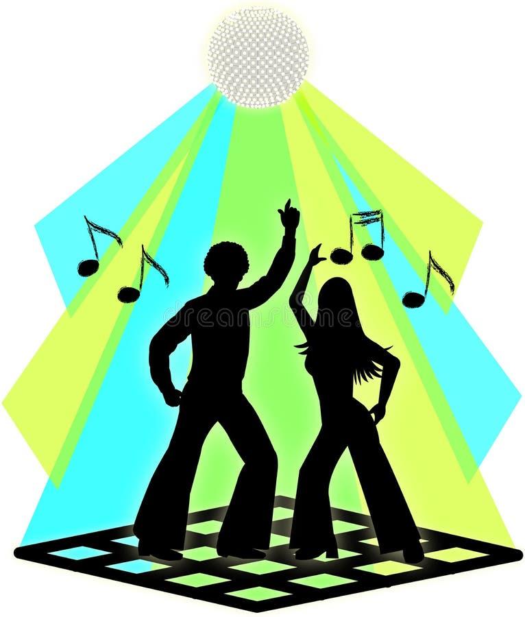 Pares da dança do disco ilustração royalty free