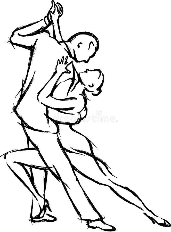 Pares da dança do tango ilustração stock