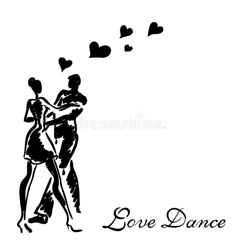 Pares da dança no amor ilustração royalty free