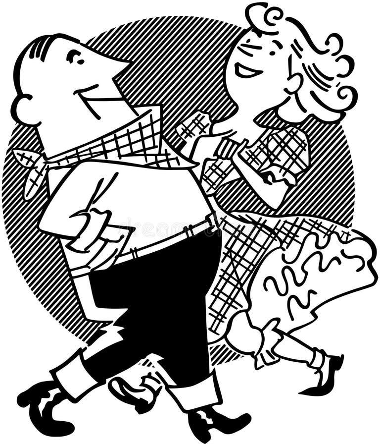 Pares da dança quadrada ilustração stock