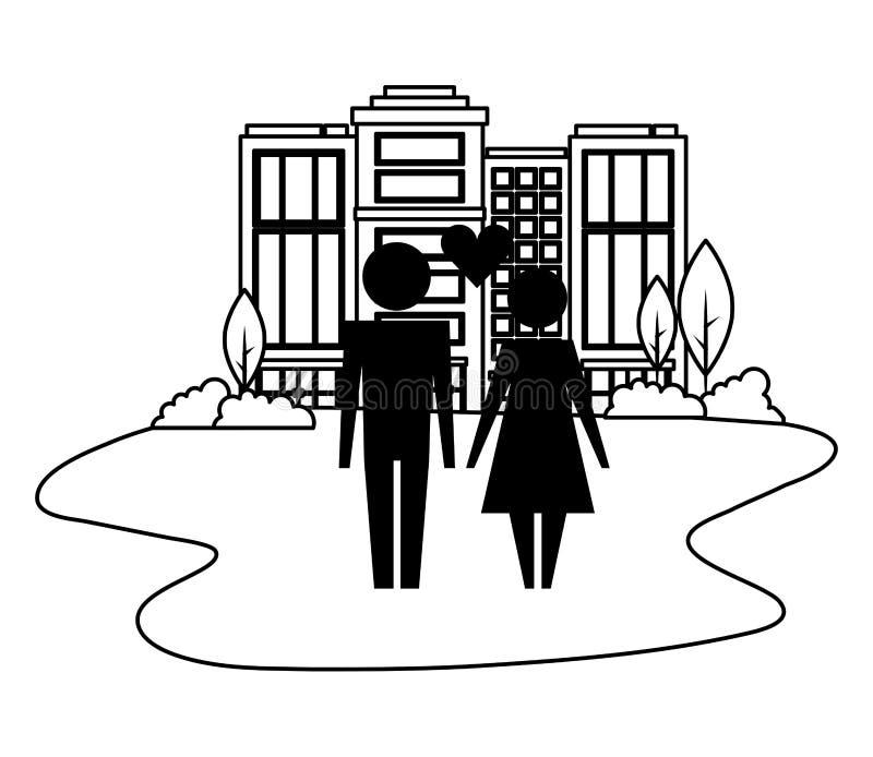 Pares da fam?lia com cora??o no ?cone isolado arquitetura da cidade ilustração do vetor