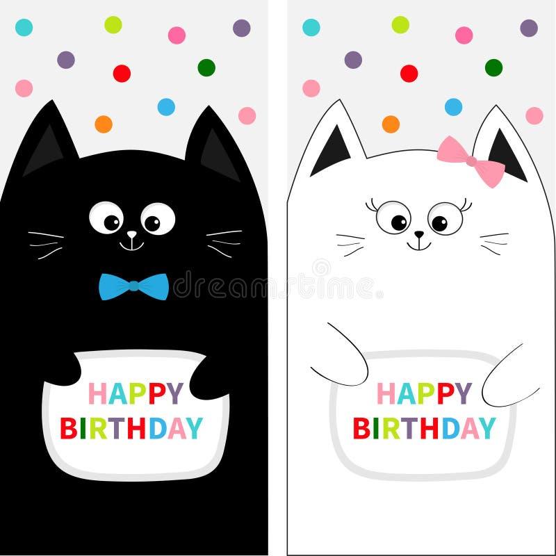 Pares da família de gato com curva Grupo do cartaz do inseto Personagem de banda desenhada engraçado bonito Feliz aniversario ano ilustração royalty free