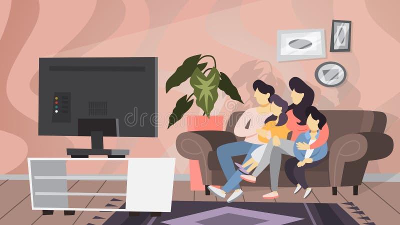 Pares da família que sentam-se em casa no sofá ilustração stock