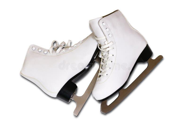 Pares da figura branca patins das mulheres de gelo isolados no backgr branco fotografia de stock