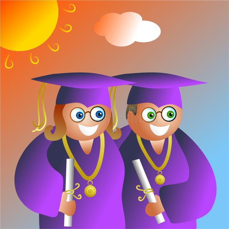 Pares da graduação ilustração royalty free