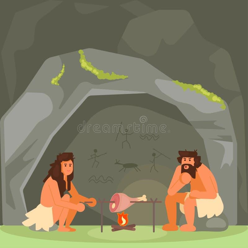 Pares da Idade da Pedra que cozinham a ilustração do vetor da carne ilustração royalty free
