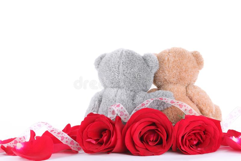 Pares da mão - urso feito do brinquedo com pétala cor-de-rosa imagens de stock