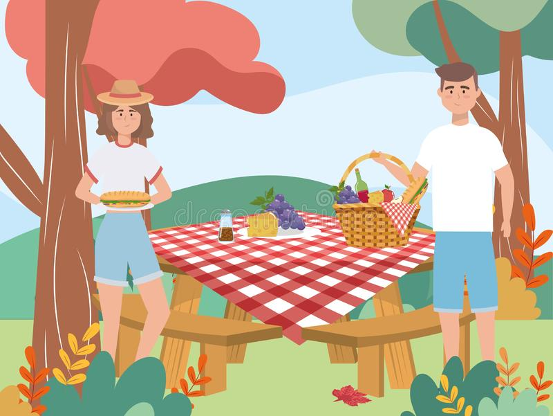 Pares da mulher e do homem com uvas e queijo ilustração royalty free