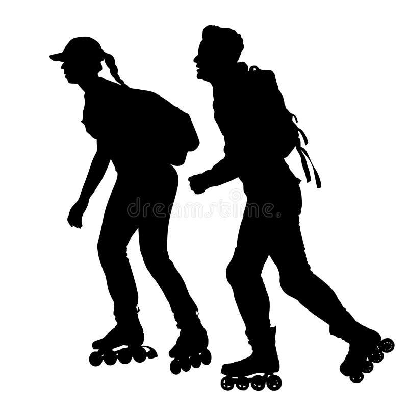 Pares da patinagem de rolo no parque, silhueta rollerblading do vetor isolada no fundo branco Em-linha patinagem Menino e menina  ilustração royalty free