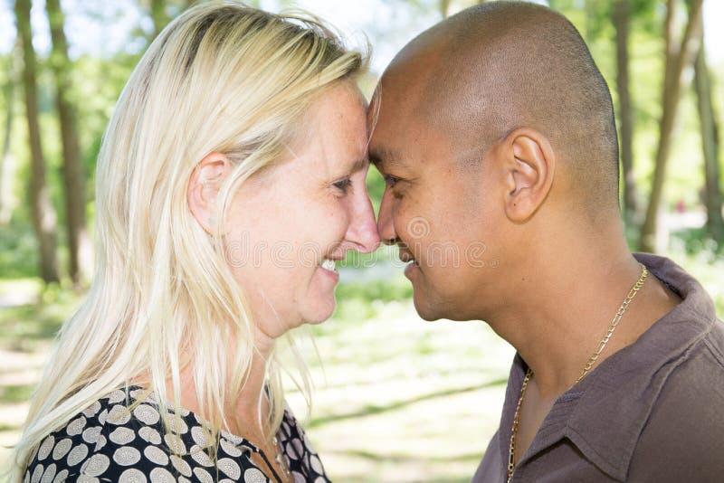 pares da raça misturada que olham-se no caucasian louro e no homem da mulher do amor sul - americano fotografia de stock royalty free