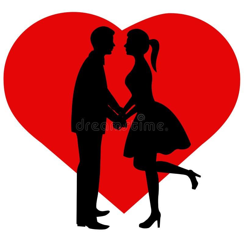 Pares da silhueta A noiva e o noivo ilustração stock