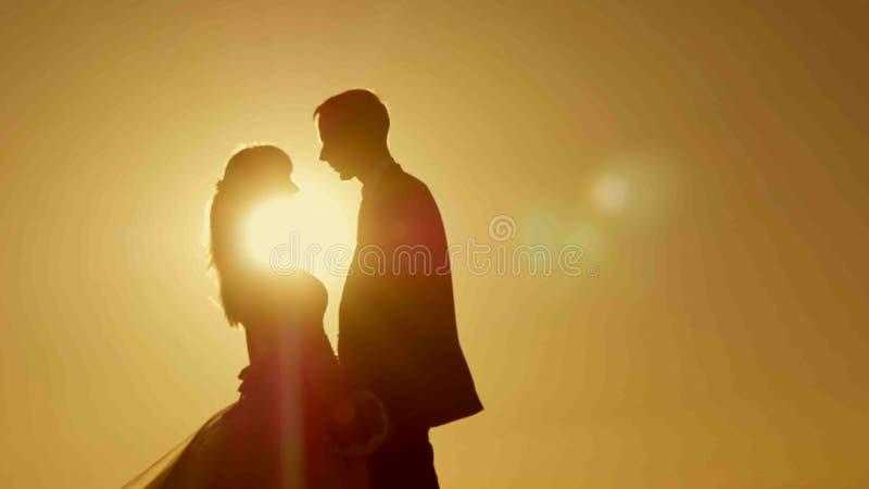 Pares da silhueta que beijam sobre o fundo do por do sol fotos de stock