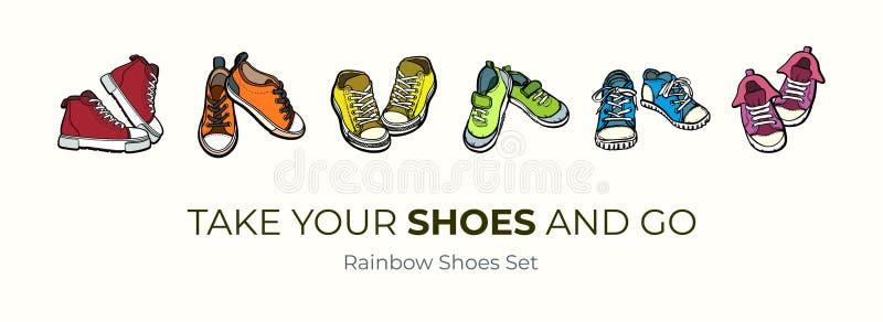 Pares das sapatas das sapatilhas isolados Grupo tirado mão da ilustração do vetor de sapatas coloridas As botas do esporte entreg ilustração stock