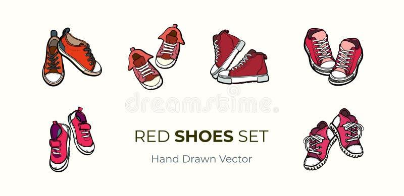 Pares das sapatas das sapatilhas isolados Grupo tirado mão da ilustração do vetor de sapatas vermelhas As botas do esporte entreg ilustração do vetor