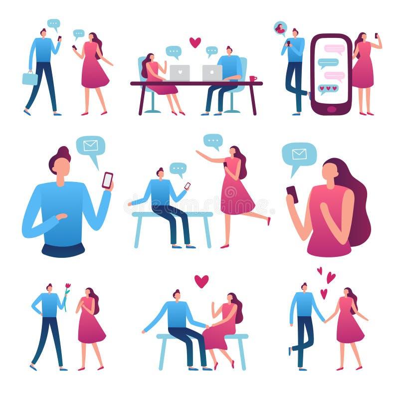 Pares datando em linha Reunião romântica do homem e da mulher, Internet perfeito do fósforo que data o bate-papo e o vetor do ser ilustração stock