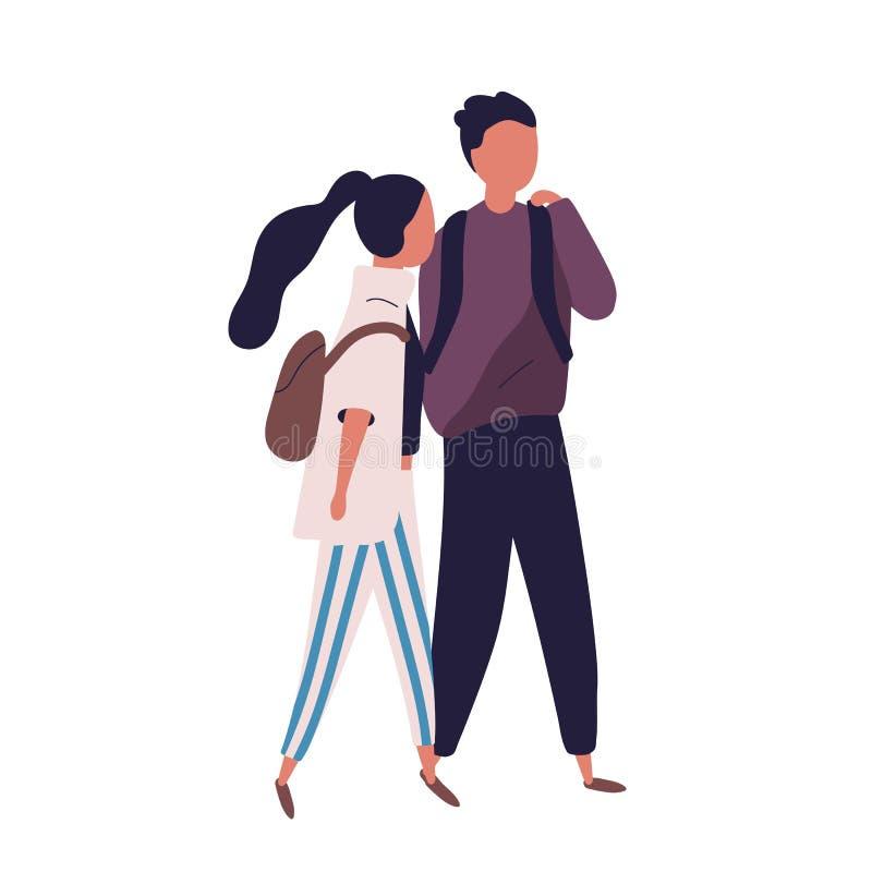 Pares de adolescente y de muchacha de la escuela Estudiantes, alumnos, compañeros de clase o amigos divertidos caminando junto y  stock de ilustración