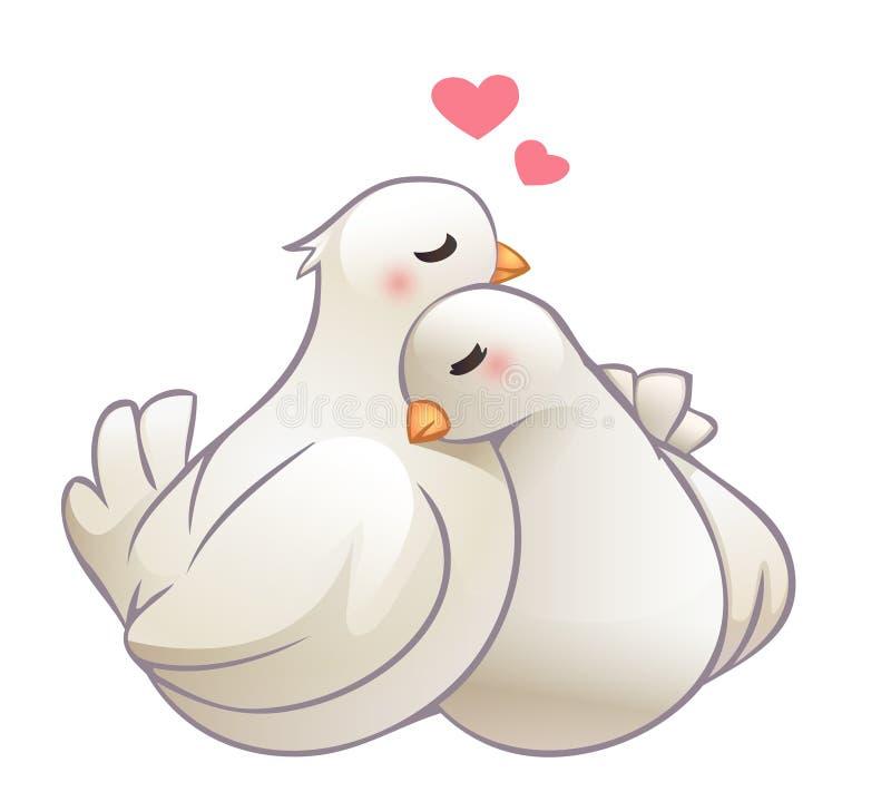 Pares de afago das pombas no amor