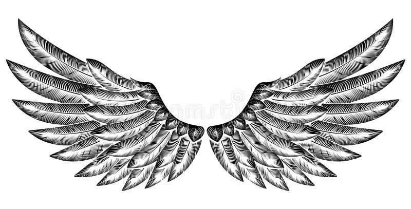 Pares de alas del pájaro ilustración del vector